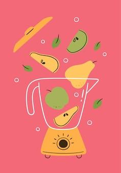 フルーツスムージー用ブレンダーのコンセプト。フードプロセッサーまたは電気ミキサーは、洋ナシとリンゴのカクテルを作ります。健康的な朝の朝食