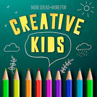 Концепция творческого детей, творческого образования, цветные карандаши и рисунки мелом каракулей.