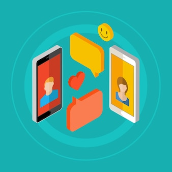 모바일 채팅 또는 휴대 전화를 통한 사람들의 대화의 개념.