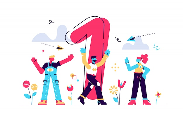 Концепция достижения вектора бизнес-цели, победитель с золотым кубком в руке, победа на первом месте, номер один, радостные люди вокруг победителя