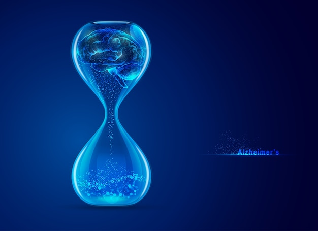 Концепция болезни альцгеймера, графика песочных часов с мозгом и футуристическим элементом внутри