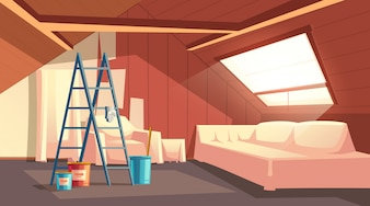 Concept of attic repair. Renovation of wooden room under a roof.