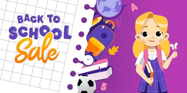 Концепция обратно в школу продажи. умная девушка с ручкой-бабочкой и книгами среди школьных предметов в окрестностях рюкзака и глобуса, календаря, будильника и книг. мультяшный плоский стиль.