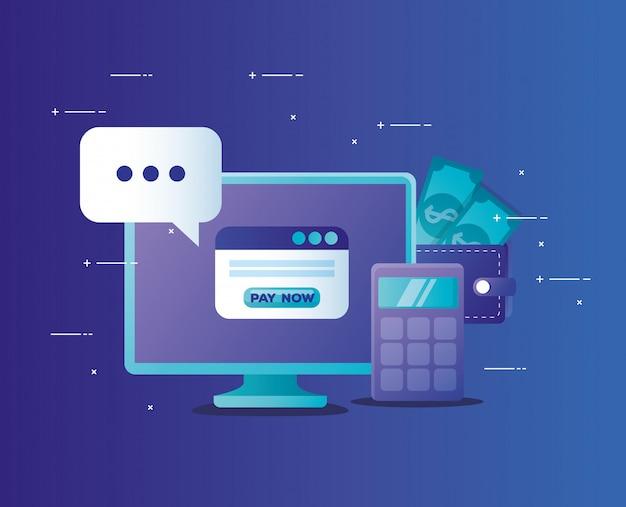 컴퓨터 바탕 화면으로 온라인 은행의 개념