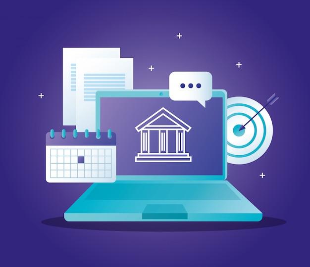 Концепция банка онлайн с ноутбуком