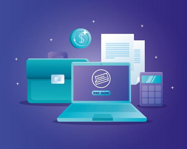노트북으로 온라인 은행의 개념