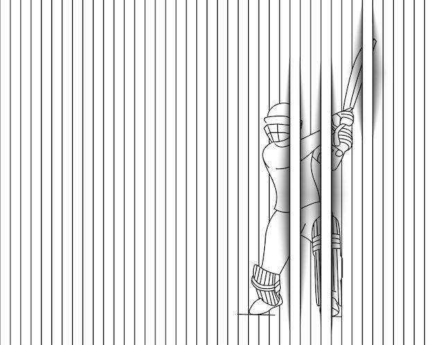 크리켓 - 챔피언십, 라인 아트 디자인 벡터 일러스트 레이 션을 재생하는 타자의 개념.