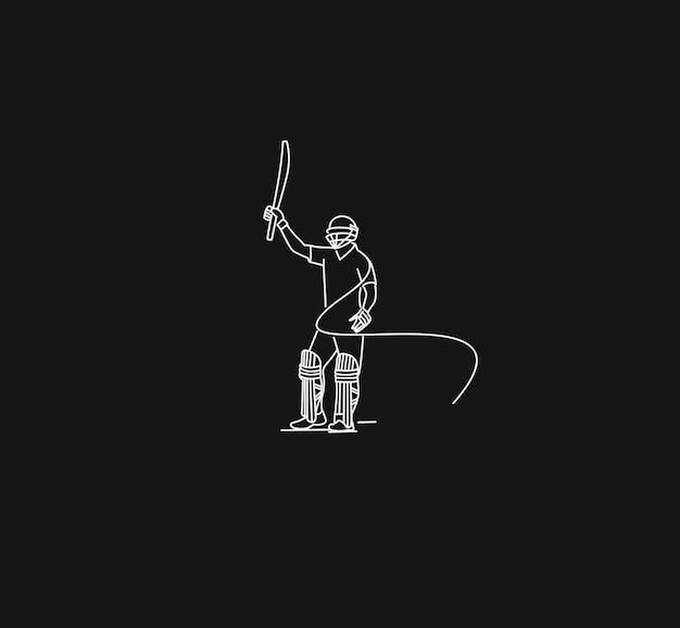 크리켓을 하는 batsman의 개념은 1세기 전체를 채점한 후 그의 방망이를 올립니다 - 챔피언십, 라인 아트 디자인 벡터 일러스트레이션.