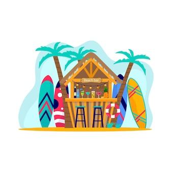 서핑 보드가 있는 비치 바의 개념입니다. 바다, 바다에서 휴가를 즐기는 사람들. 여름 스포츠 및 레저 야외 활동. 흰색 배경에 고립 된 평면 벡터 일러스트 레이 션