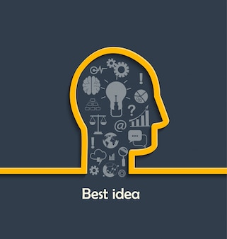Concept of big and best ideas.
