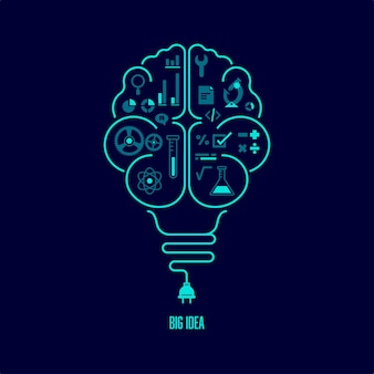 Концепция большой идеи или творческого мышления. форма лампочки в сочетании с человеческим мозгом