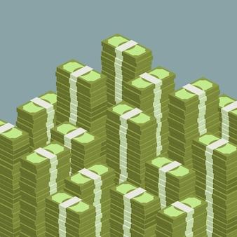 Понятие о больших деньгах. большая куча наличных денег. сотни долларов. изометрическая иллюстрация.