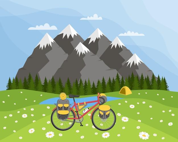 自転車ツアーのコンセプト。カモミールの牧草地、山々、テントを背景にした自然の風景。フラットの図。