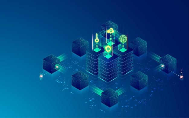 Концепция технологии цепочки блоков или центра обработки данных, графика компьютерного сервера, окруженного футуристическим кубом