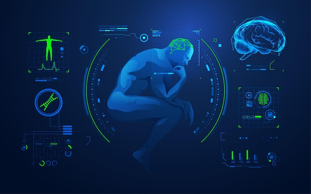 Концепция анализа мозга или исследования мозга, думающий человек с интерфейсом медицинских технологий