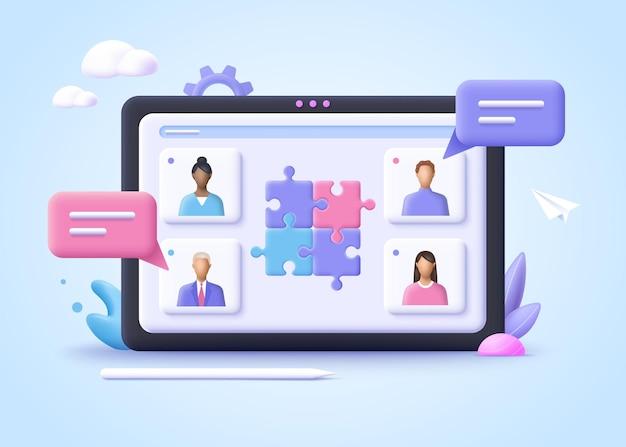 ビジネス協力パートナーシップコラボレーションの概念3dリアルなイラスト