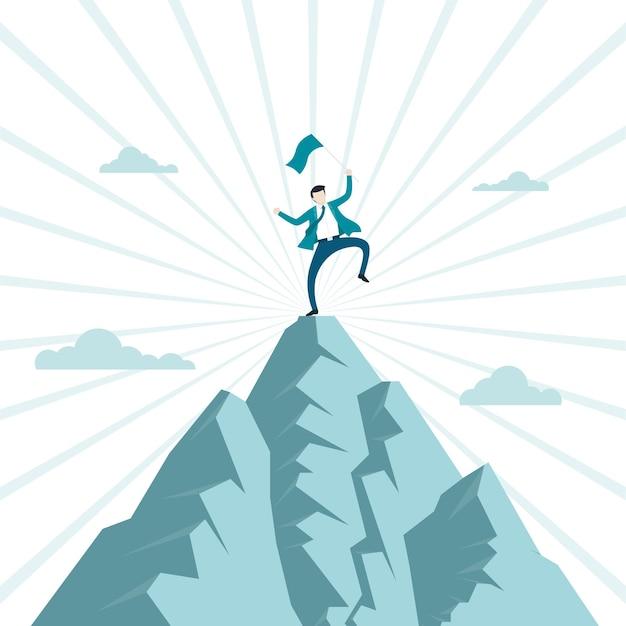 ビジネスの経済的成功の概念。ビジネスマンは彼らの成功を祝う山の頂上にジャンプする旗を保持するために登ります。シンボル、達成、野心、リーダーシップ。ベクトルイラストフラット