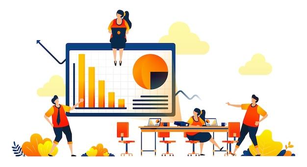 Концепция деловой встречи в рабочей области с проекторами, обсуждает гистограмму