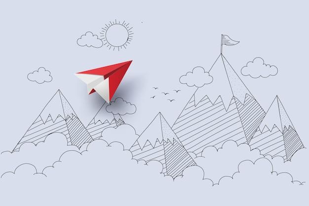 비즈니스의 개념, 종이 비행기는 구름과 산으로 하늘을 나는 것입니다. 손으로 그리기 및 종이 컷 스타일.