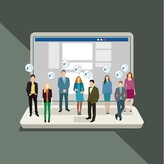 Концепция деловых социальных сетей и общения. плоский дизайн, иллюстрация