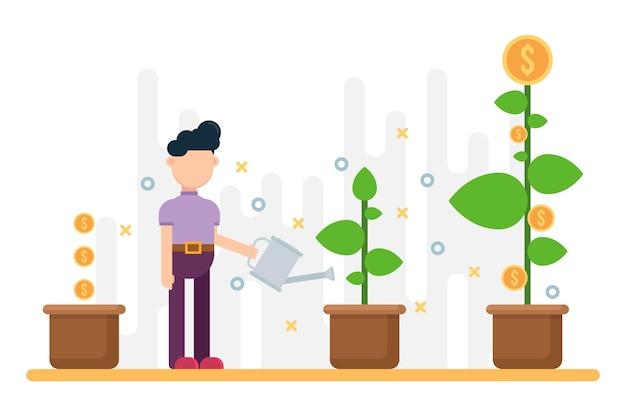 ビジネスの成功の概念。ポットで金のなる木を育てる。
