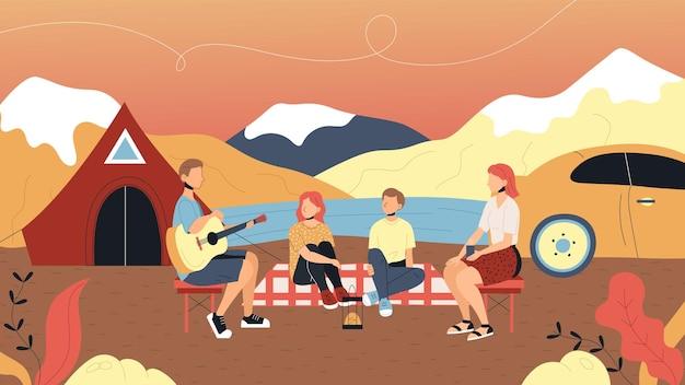 キャンプと夏の風景の概念。キャラクターたちは屋外で楽しい時間を過ごしています。家族はテントキャンプの近くに一緒に座って、ギターで歌を歌っています。漫画フラットスタイル。ベクトルイラスト。
