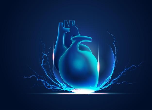 Концепция кардиологии или сердечной силы, рисунок сердца с элементом молнии