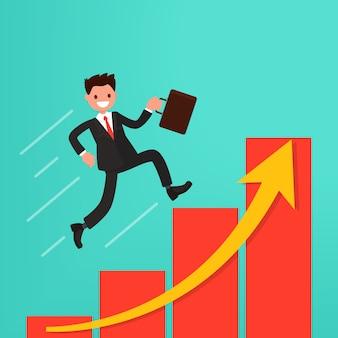 Концепция карьерного роста или путь к успеху. бизнесмен бежит по графику.