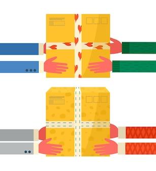 配達アイコン用の粘着テープ付きカートンパッケージのコンセプト。郵便小包、パック、箱。オンライン配達サービスのコンセプトのために小包を手に持っている宅配便。分離されたベクトル