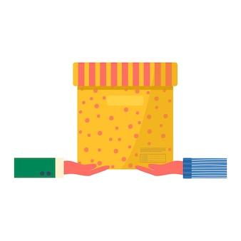 配達アイコン用の粘着テープ付きカートンパッケージのコンセプト。郵便小包、パック、箱。オンライン配達サービスの概念のために手持ちの小包を持っている宅配便。分離されたベクトル