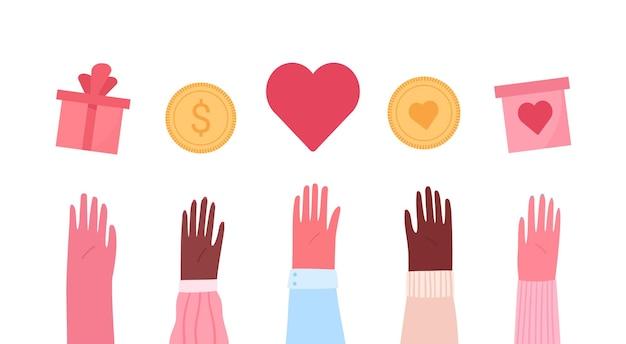 자선 및 기부 평면 그림의 개념