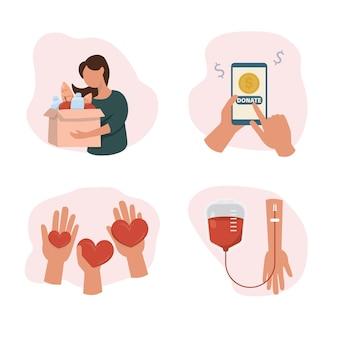 Понятие благотворительности и пожертвования. дарите и делитесь своей любовью, кровью, деньгами, продуктами с людьми. руки, держащие символ сердца. плоский дизайн, векторные иллюстрации на белом фоне.