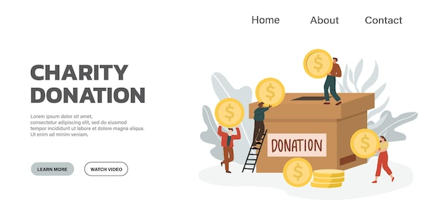 자선 및 기부의 개념. 사람들에게 돈을주고 공유하십시오.