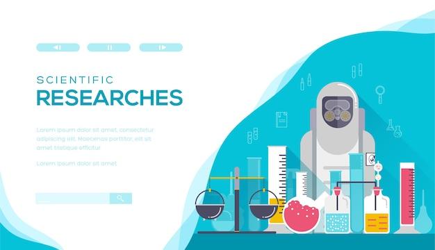 化学研究の概念。科学実験と研究のためのwebバナー。