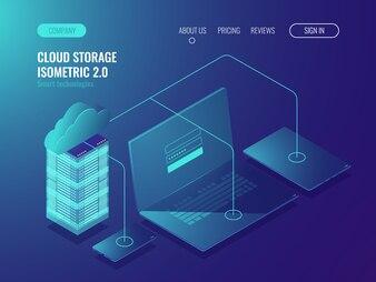 Concept of cloud storage, data transfer. Server room, big data center