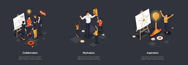 협업, 비즈니스 및 실제 생활에서 창의력의 개념.