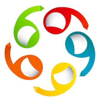 다른 b에 대한 화살표가 있는 다채로운 원형 배너의 개념