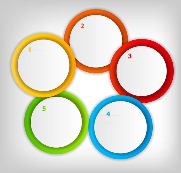 さまざまなビジネスデザインの矢印とカラフルな円形バナーの概念。ベクトルイラスト