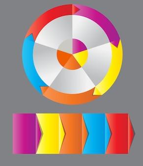다양한 비즈니스 디자인을 위한 화살표가 있는 다채로운 원형 배너의 개념. 벡터 일러스트 레이 션