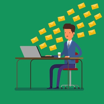 コミュニケーションの概念。ノートパソコンで大量のメッセージを受信する男。フラットなデザイン、ベクトルイラスト。