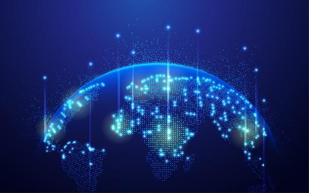 통신 기술 또는 글로벌 네트워크의 개념, 미래 요소가있는 점선 세계지도
