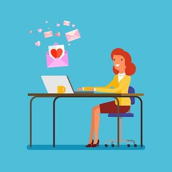 コミュニケーションの概念。ノートパソコンで愛のメッセージを受信する女性。フラットなデザイン、ベクトルイラスト。