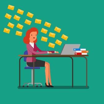 통신의 개념입니다. 노트북으로 수많은 메시지를 받는 여성. 평면 디자인, 벡터 일러스트 레이 션입니다.