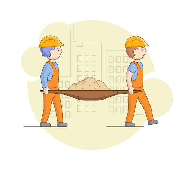 建設と重労働の概念。保護服を着た労働者の男性と砂を一緒に運ぶヘルメット。仕事中の建設労働者。