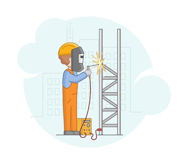 建設の概念。保護ユニフォームと溶接機で溶接金属細工をマスクするプロの労働者の男。仕事中の建設労働者。