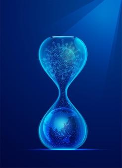 Covid-19の世界的な広がりの概念、ウイルスと地球が内部にある砂時計のグラフィック