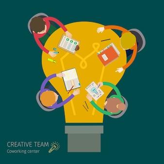 창의적인 팀워크의 개념입니다. 비즈니스 회의 및 브레인 스토밍.