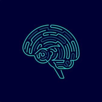 創造的思考または機械学習の概念、迷路パターンと組み合わせた脳のグラフィック