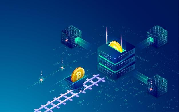 暗号通貨マイニング技術の概念、ビットコインとマイニングツールを備えたブロックチェーンのグラフィック