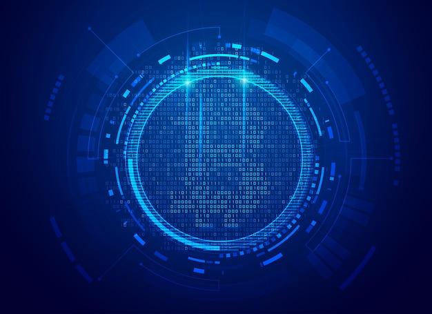 Концепция технологии криптовалюты, графика символа биткойна с футуристическим элементом